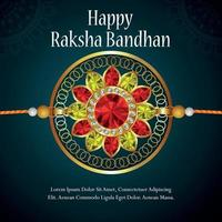 cartão de convite feliz raksha bandhan com cristal dourado rakhi com fundo vetor