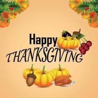 Fundo de celebração de ação de graças feliz com abóbora criativa e folhas de outono vetor