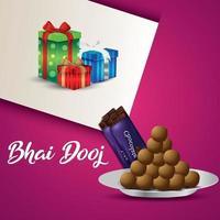 festival indiano da celebração do feliz bhai dooj com ilustração vetorial, presentes e doces vetor