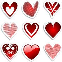 adesivos de coração vetor