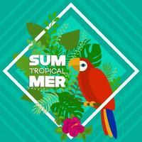 banner tropical de verão com arara e folhas vetor