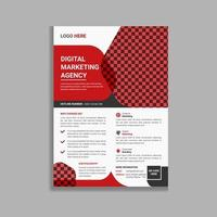 design de modelo de panfleto empresarial moderno vermelho e preto vetor