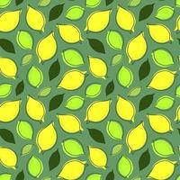 fundo de hortelã sem costura com limão frutas e folhas vetor