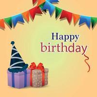 cartão comemorativo de feliz aniversário com presentes de vetor e bandeira de festa colorida