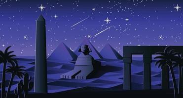 esfinge e pirâmide famoso marco do Egito vetor