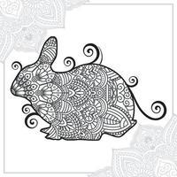 coelho mandala. elementos decorativos vintage. padrão oriental, ilustração vetorial. vetor