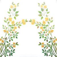 flor aquarela e folhas verdes vetor