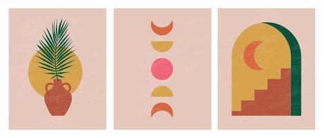 ilustrações estéticas abstratas minimalistas modernas. decoração de parede de estilo boêmio. coleção de pôsteres artísticos contemporâneos vetor