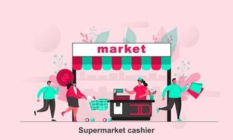 projeto de conceito da web de caixa de supermercado em ilustração vetorial de estilo simples vetor