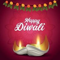 Fundo do festival tradicional indiano diwali feliz com diwali diya criativo vetor