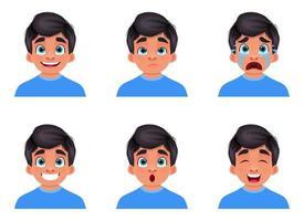 ilustração de desenho vetorial expressão rosto de menino isolada no fundo branco vetor
