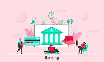 projeto de conceito da web bancária em ilustração vetorial de estilo simples vetor