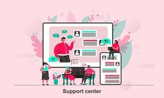design de conceito da web do centro de suporte em ilustração vetorial vetor