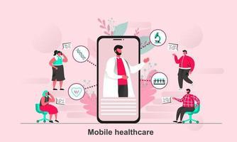 design de conceito de web de saúde móvel em ilustração vetorial de estilo simples vetor