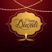 feliz festival de diwali da luz cartão comemorativo vetor