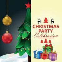 ilustração em vetor de cartão de convite de feliz natal com árvore de natal e papai noel
