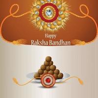 Rakhi de cristal criativo para o festival indiano feliz festa raksha bandhan cartão comemorativo vetor