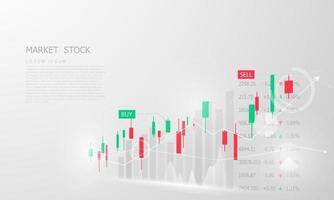 mercado de ações, gráfico econômico com diagramas, conceitos e relatórios financeiros e de negócios, fundo abstrato do conceito de comunicação de tecnologia vetor