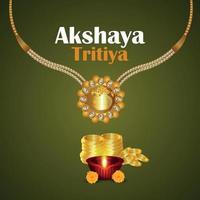 Akshaya tritiya indiano festival padrão de fundo criativo com joias realistas de ouro vetor