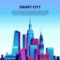 urbano grande cidade edifício arranha-céu pop gradiente cor moderna ilustração cena paisagem com fundo de céu azul vetor