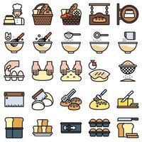 conjunto de ícones preenchidos relacionados com padaria e panificação 2 vetor