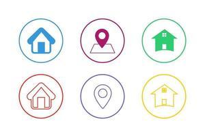 conjunto de ícones de endereço colorido vetor