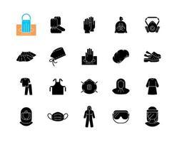 ícones de glifo preto médicos ppe definidos no espaço em branco vetor