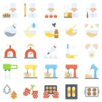 conjunto de ícones planos relacionados com padaria e panificação vetor