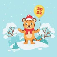 tigre bonito em um lenço com um balão deseja um feliz Natal e um feliz ano novo 2022 no fundo do inverno. ano do tigre. ilustração vetorial vetor