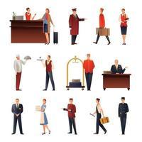 ícones lisos da equipe do hotel definir ilustração vetorial vetor