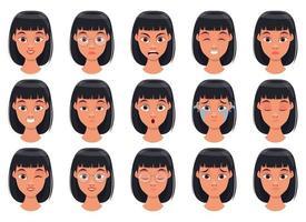 ilustração de desenho vetorial de expressão de rosto de mulher isolada no fundo branco vetor