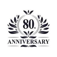 Celebração do 80º aniversário, design luxuoso do logotipo do aniversário de 80 anos. vetor