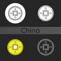 ícone de tema escuro de moedas chinesas antigas vetor