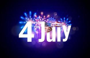 4 de julho com fogos de artifício realistas vetor