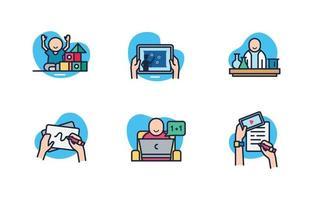 coleção de ícones escolares em design plano vetor