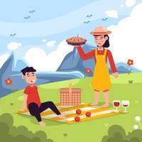 casal fazendo piquenique na montanha vetor