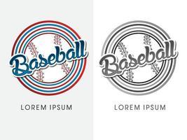 texto de beisebol com bola vetor