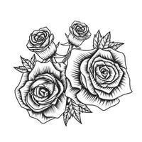 desenho de vetor flor rosa preto branco