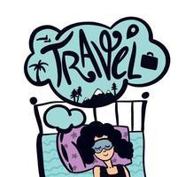 mulher sonha com viagens, jornadas. garota sonhadora precisa de um conceito de letras de férias esperando pelo design plano de férias vetor