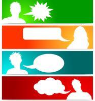 Avatares de pessoas com bolhas do discurso vetor
