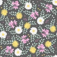 padrão botânico sem costura com camomiles brancos, flores amarelas, flores cor de rosa e folhas verdes em fundo escuro ... perfeito para papel de parede, plano de fundo, têxteis ou papel de embrulho. vetor
