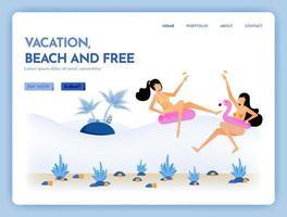 O site de viagens com o tema férias praia e férias grátis junto com o serviço de natação no mar tropical pode ser usado para anúncios em cartaz no site web mobile marketing flyer vetor