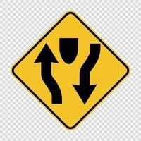 sinalização de duas carruagens à frente em fundo transparente vetor