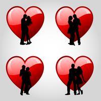 Casais e corações vetor