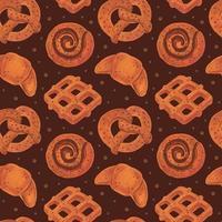 padaria sem costura padrão textura boulangerie loja pretzel croissant bagel roll waffle comida aquarela vetor
