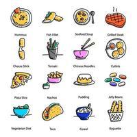 doodle de cozinhas deliciosas vetor