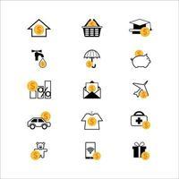 conjunto de ícones de orçamento vetor