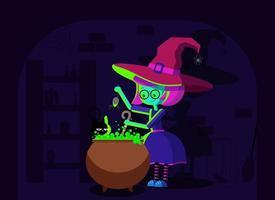 bruxa de halloween com caldeirão vetor