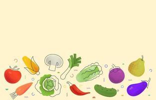 frutas e vegetais coloridos em fundo bege vetor