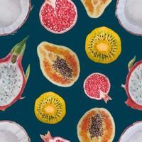 aquarela sem costura fruta tropical padrão vetor